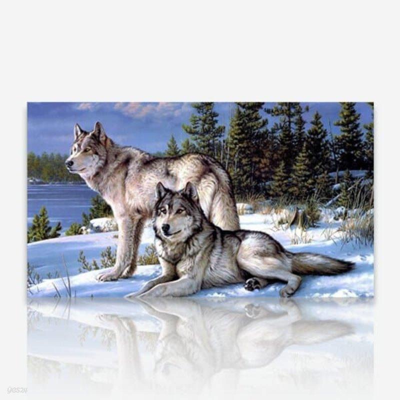 먼곳을 응시하는 늑대 DIY 보석십자수 십자수 비즈세트