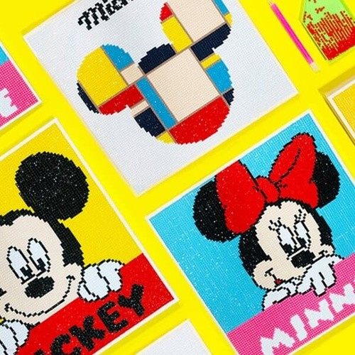 DIY 디즈니 미키마우스 보석십자수 (25 X 25)