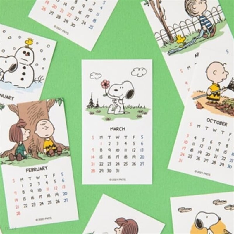 [Peanuts] 2021 미니 달력 스티커_화이트