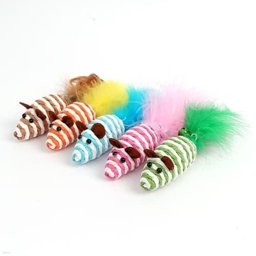 깃털 방울쥐 고양이장난감 5p세트 / 캣토이 마우스