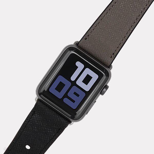 [출시할인40%이벤트]애플 워치 소가죽 스트랩 밴드(타이가블랙+그레이)WC97327.APPLE WATCH 1,2,3,4,5,6,SE 호환