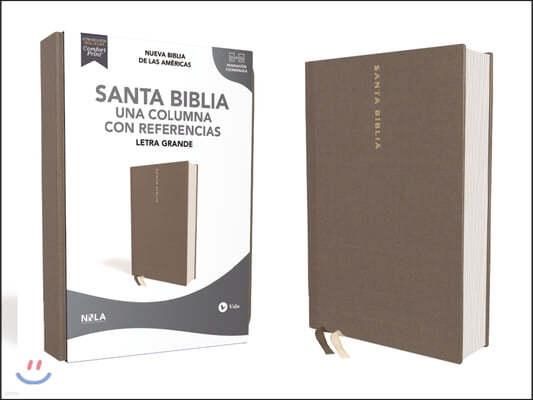 Biblia Nbla, Una Columna Con Referencias, Letra Grande, Tapa Dura/Tela, Gris, Edicion Letra Roja
