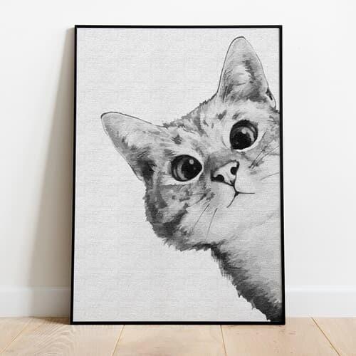 명화그리기 궁금한 고양이 캔버스페인팅 유화그림