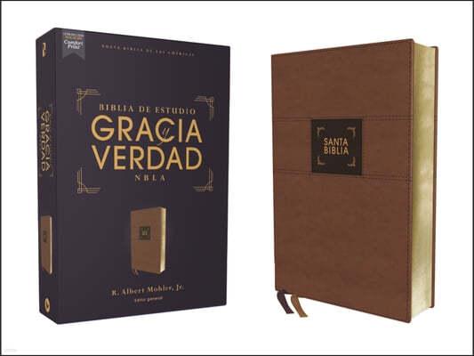 Nbla Biblia de Estudio Gracia Y Verdad, Leathersoft, Cafe, Interior a DOS Colores