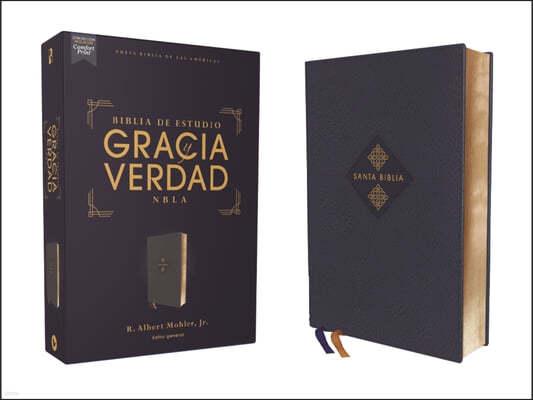 Nbla Biblia de Estudio Gracia Y Verdad, Leathesoft, Azul Marino, Interior a DOS Colores