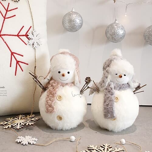 [2HOT] 크리스마스 털모자 눈사람 2P (대)