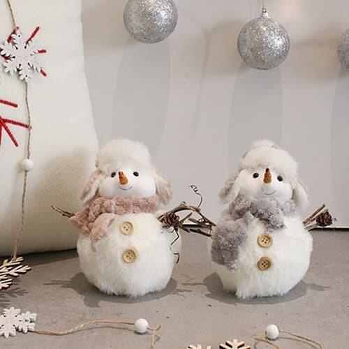 [2HOT] 크리스마스 털모자 눈사람 2P (소)
