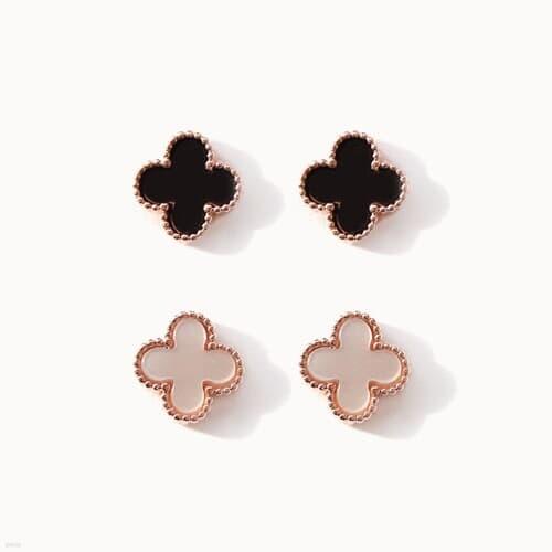 제이로렌 02M03401 로즈골드 자개 오닉스 귀걸이