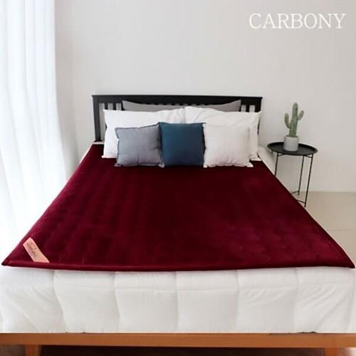 [카보니] 숯발열 탄소매트 1인용 (극세사 와인)