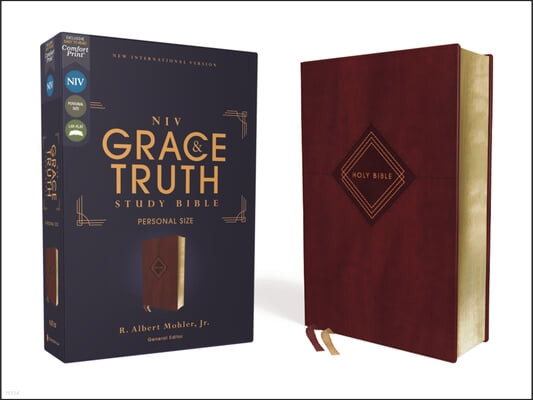 Niv, the Grace and Truth Study Bible, Personal Size, Leathersoft, Burgundy, Red Letter, Comfort Print