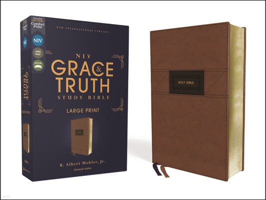 Niv, the Grace and Truth Study Bible, Large Print, Leathersoft, Brown, Red Letter, Comfort Print