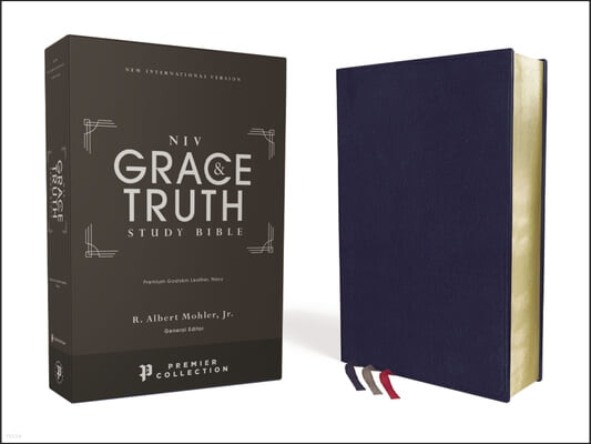 Niv, the Grace and Truth Study Bible, Premium Goatskin Leather, Navy, Premier Collection, Black Letter, Art Gilded Edges, Comfort Print