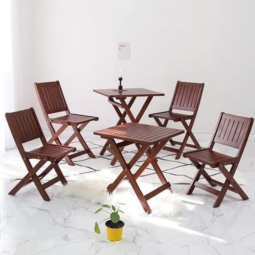 [벤트리] 원목 브라우니 접이식 카페테이블&의자 SET_디자인02