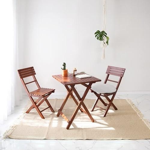 [벤트리] 원목 브라우니 접이식 카페테이블&의자 SET_디자인01