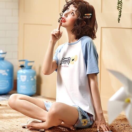 어썸 홈웨어 반팔 반바지 세트(XL)/여자 잠옷세트