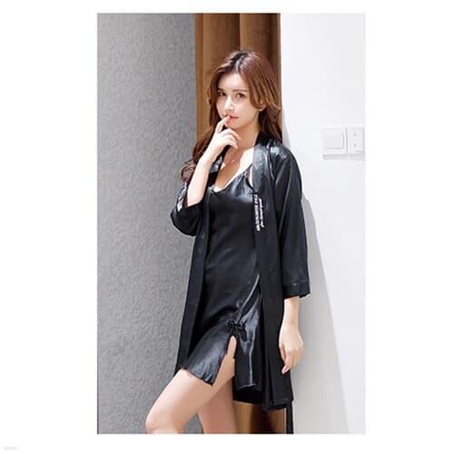 실키나잇 여성 잠옷세트 / 블랙 나이트가운 슬립세트