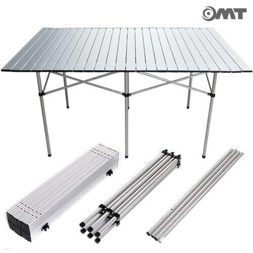 OMT 휴대용 접이식 알루미늄 폴딩 롤 캠핑 테이블 특대형 1300*700 6인용