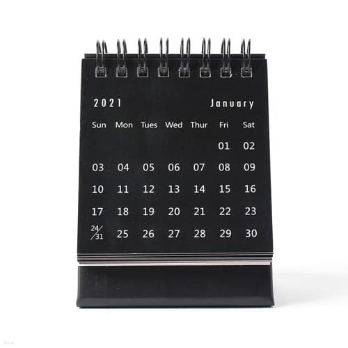 2021년 미니 탁상 캘린더 2p(블랙) 스티커 소형달력