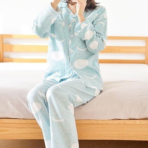 스트라이프 봄 잠옷세트(그린)/ M 코튼 파자마세트