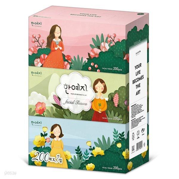 한예지 캐릭터 미용티슈 200매 3입 1팩