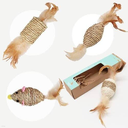 해초로 만든 고양이 장난감 타래시리즈-기둥 마우스 솔방울 팽이