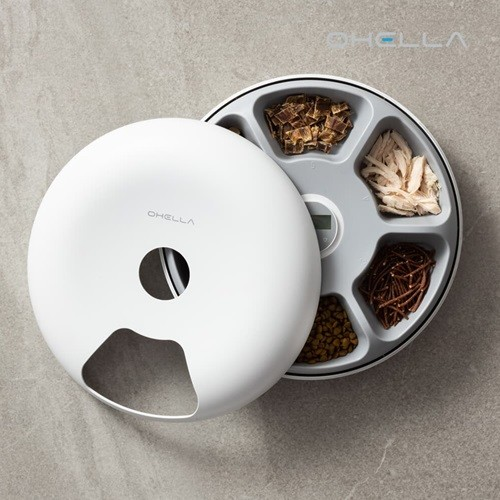 앱코 오엘라 PF01 6구 트레이 발 끼임방지 반려동물 자동급식기