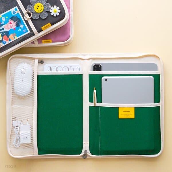 [쿠폰가: 17,000원][키보드&마우스수납] 캔버스 태블릿 아이패드 파우치