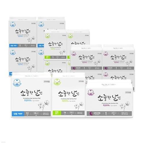 [패밀리세트]소중한날엔 유기농 무접착 생리대 중형 14P 5팩 + 대형 12P 5팩 + 오버나이트 6P 5팩
