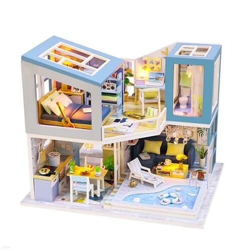 DIY 미니어처 하우스 - 블루 풀빌라