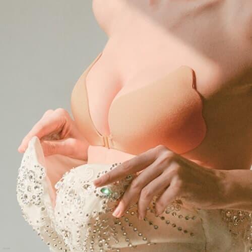 웨딩 촬영 브라 누브라 속옷 4size [접착력 UP 오프숄더 웨딩드레스 누디 뽕 붙이는 끈없는 누드브라]