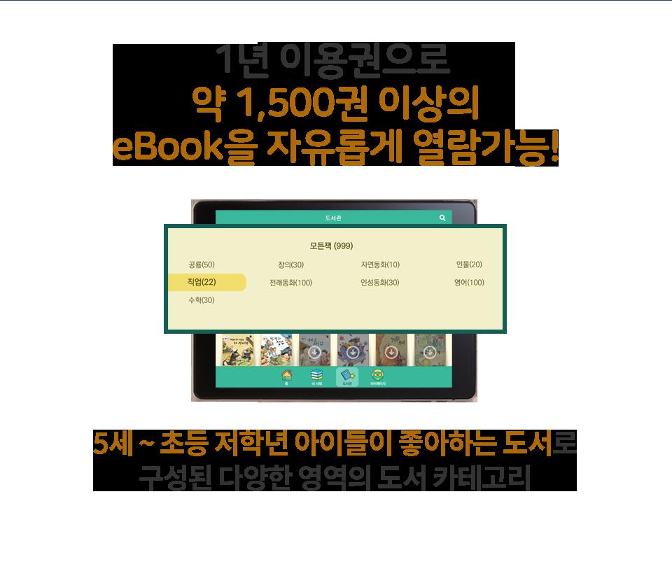 1년 이용권으로 약 1,500권 이상의 eBook을 자유롭게 열람가능!