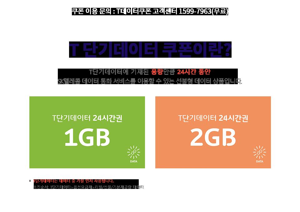 T데이터쿠폰이란? 쿠폰에 기재된 제공량만큼 SK텔레콤 휴대폰 데이터 서비스를 이용할 수 있는 선불형 데이터 상품입니다.