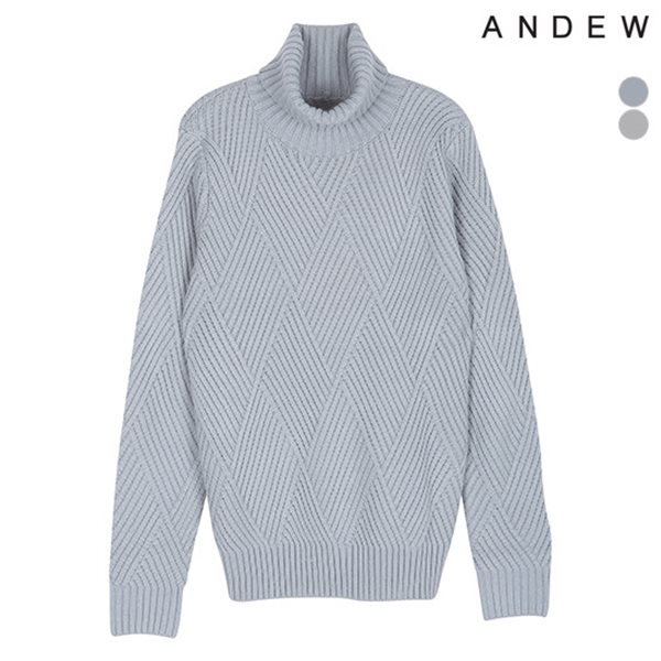 [ANDEW]남성 사선조직 터틀넥풀오버(O174KT150P)
