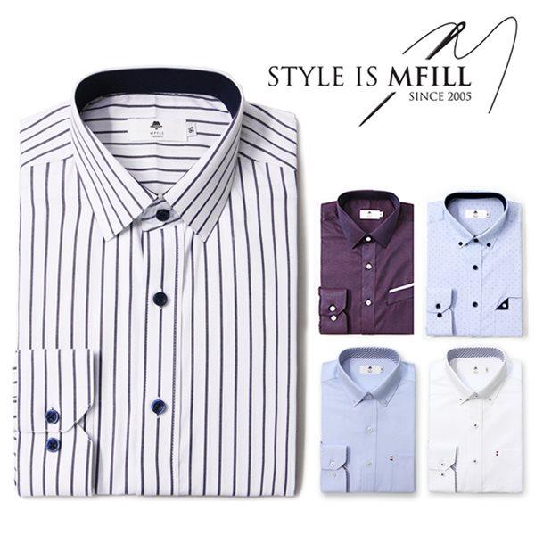 [엠필] 남자 긴팔 드레스셔츠 8종택1