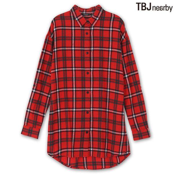 [TBJ]여성 롱기장 기모 체크 셔츠 RD (T144SH740P)