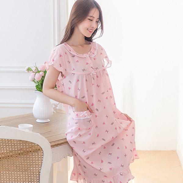 핑코코 P183 워터멜론 원피스/홈웨어/원피스잠옷/잠옷