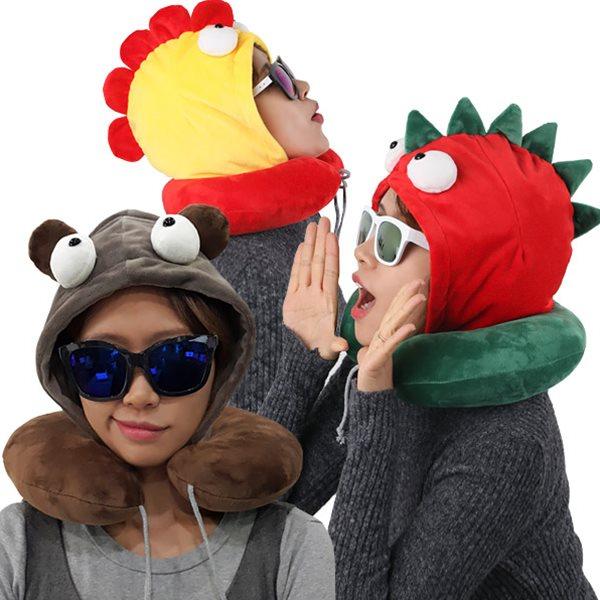 HJN 후드달린 따뜻한 목쿠션/캐릭터 후드목베개