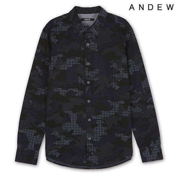 [ANDEW]남성 기본카라 헤지 솔리드/까모 셔츠 NV (O154SH100M)