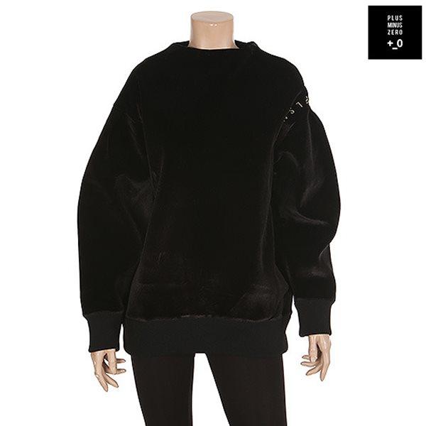 [플러스마이너스제로] 벨벳 로고자수 맨투맨 티셔츠 BK (PDWFTS017A)
