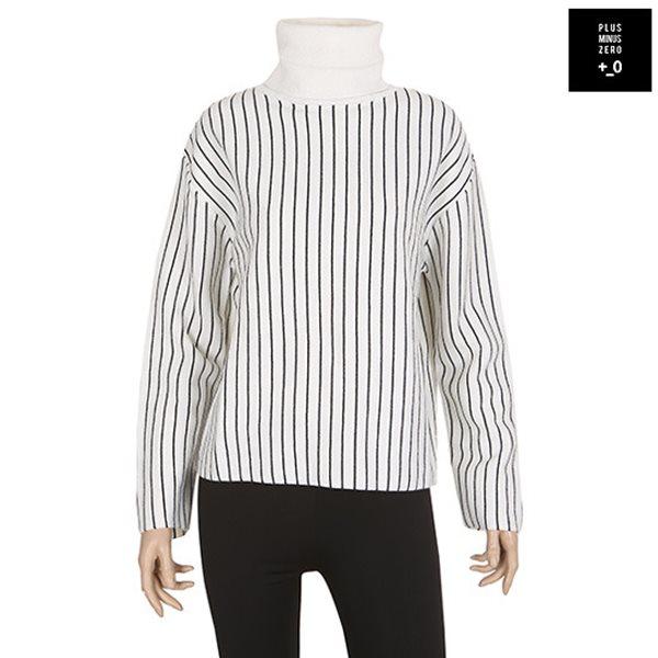 [플러스마이너스제로] 세로줄 목폴라 티셔츠 WT (PDWFEP007A)