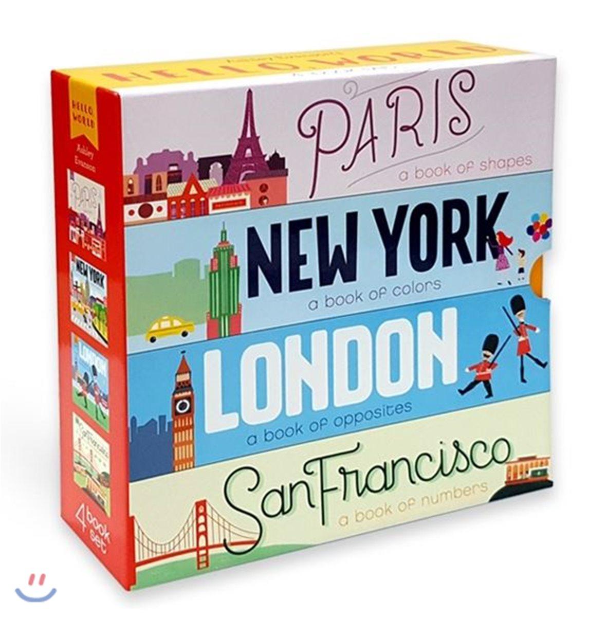 세계 도시 낱말 책 4종 세트 (형태, 색깔, 반대말, 숫자 영단어) : Hello World 4 Books Boxed Set