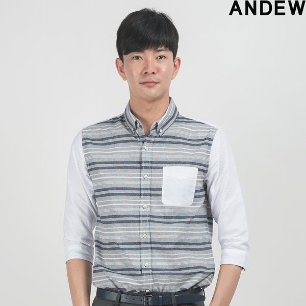 [ANDEW]남성 7부 스트라이프 배색 셔츠 NV(O153SH100P)