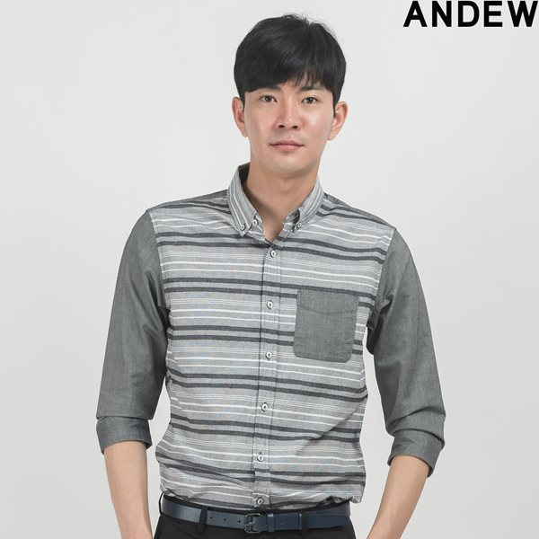[ANDEW]남성 7부 스트라이프 배색 셔츠 GR(O153SH100P)