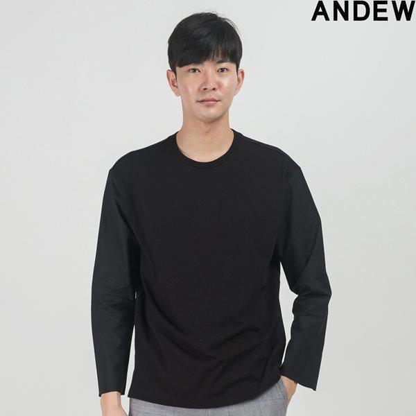 [ANDEW]유니 등판 우븐 U-N 티셔츠 BK(O153TS011P)