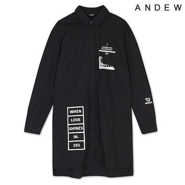 [ANDEW]여성 앞마이 지퍼 프린트 셔츠 BK(O153SH520M)