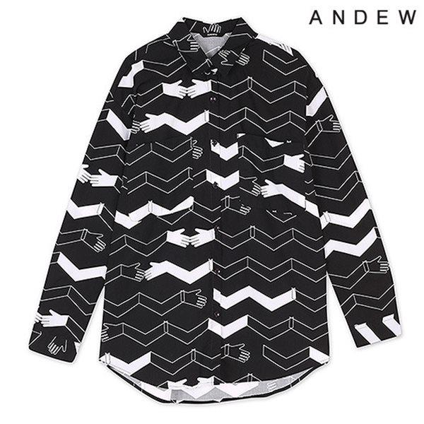 [ANDEW]여성 프린트물 셔츠 BK(O153SH560M)