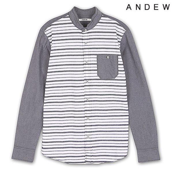 [ANDEW]남성 긴팔 배색 스트라이프 셔츠 NV(O151SH160P)