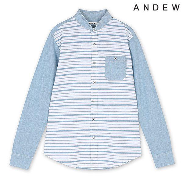 [ANDEW]남성 긴팔 배색 스트라이프 셔츠BL(O151SH160P)