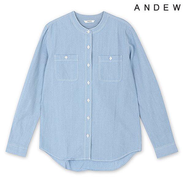 [ANDEW]여성 긴팔 데님 헨리넥 셔츠 LID(O151SH520M)