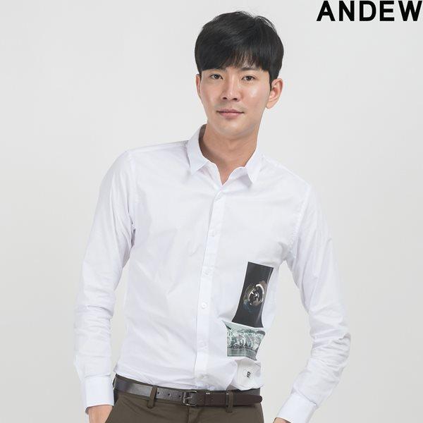 [ANDEW]남성 레터링 WH BK 셔츠 OWT(O153SH150M)